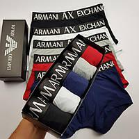 Мужские трусы Armani 5 штук хлопок   Подарочный набор боксеры Армани