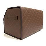 Саквояж с лого в багажник «Daewoo» I Органайзер в авто Коричневый Део, фото 4