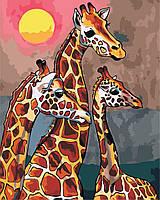 """Картина по номерам """"Семья жирафов"""" 40*50см"""