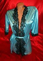 Бирюзовый халат с кружевом, размер 40-42