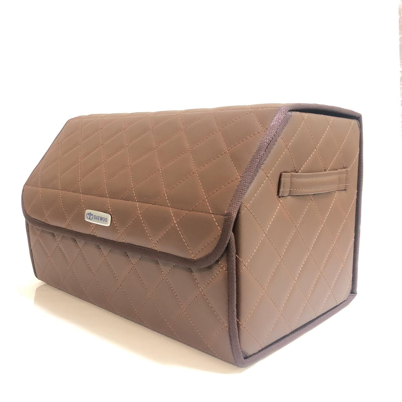 Саквояж с лого в багажник «Daewoo» I Органайзер в авто Коричневый Део