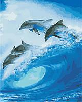 """Картина по номерам """"Стая дельфинов"""" 40*50см"""