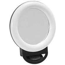 Вспышка с Зеркалом на прищепке Selfie Ring Light ЛЕД LED Лампа на Аккумуляторе HR-20 D11.5 см 3500-6500K, фото 2