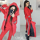 Женский стильный теплый костюм-тройка: желетка на силиконе, брюки и кофта, красный, черный, белый норма и бата, фото 4