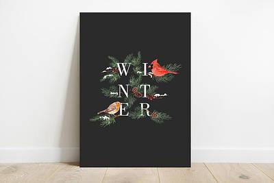 Новогодний плакат Christmas black формат А3