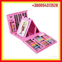 Набор юного художника для рисования 208 предметов с мольбертом, в удобном чемоданчике розовый