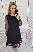 Платье трапеция + сетка арт. 407 черное / черный металлик
