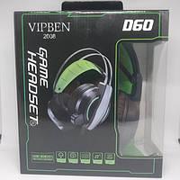 Игровые проводные наушники VIPBEN D60 с микрофоном Чёрные с Синим