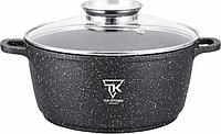 Кастрюля с мраморным антипригарным покрытием 20см 2,49л крышка термостойкое стекло Top Kitchen ТК00051 Черный