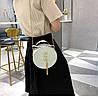 Блестящая круглая белая сумочка с косточкой через плечо, фото 4