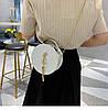 Блестящая круглая белая сумочка с косточкой через плечо, фото 6