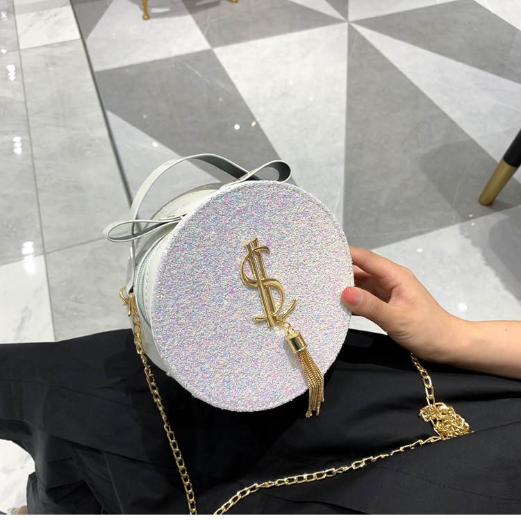 Блестящая круглая белая сумочка с косточкой через плечо