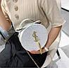 Блестящая круглая белая сумочка с косточкой через плечо, фото 5