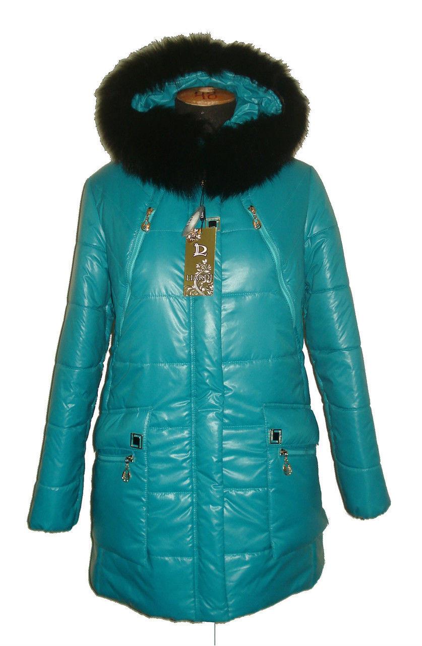 Зимний пуховик с черным мехом