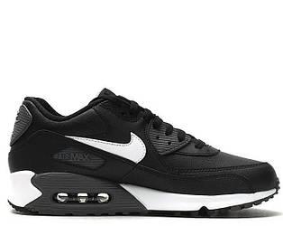 Кроссовки женские Nike Air Max 90 Premium Leather Black White черные