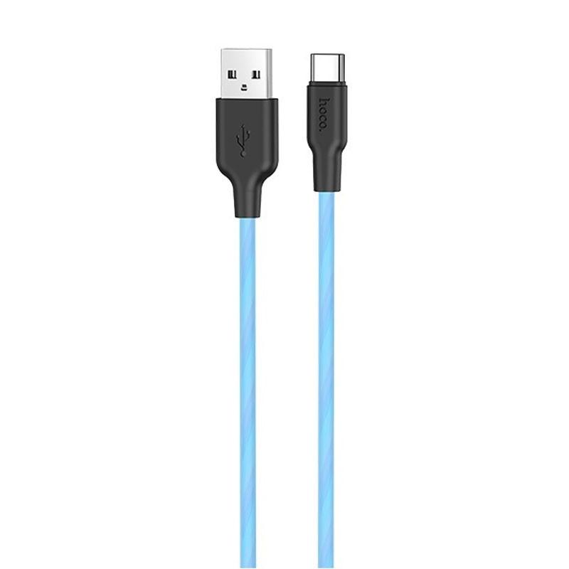 Дата кабель Hoco X21 Plus Fluorescent Silicone Type-C Cable (1m)