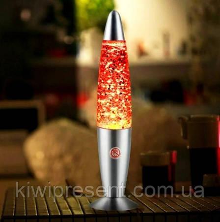 Лава лампа с блестками (звезды) 41 см ночник Glitter Light / светильник глиттер лампа Синяя, фото 2