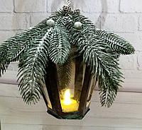 Новогодний подсвечник фонарь с LED подсветкой Подарок на новый 2021 год Ручная работа