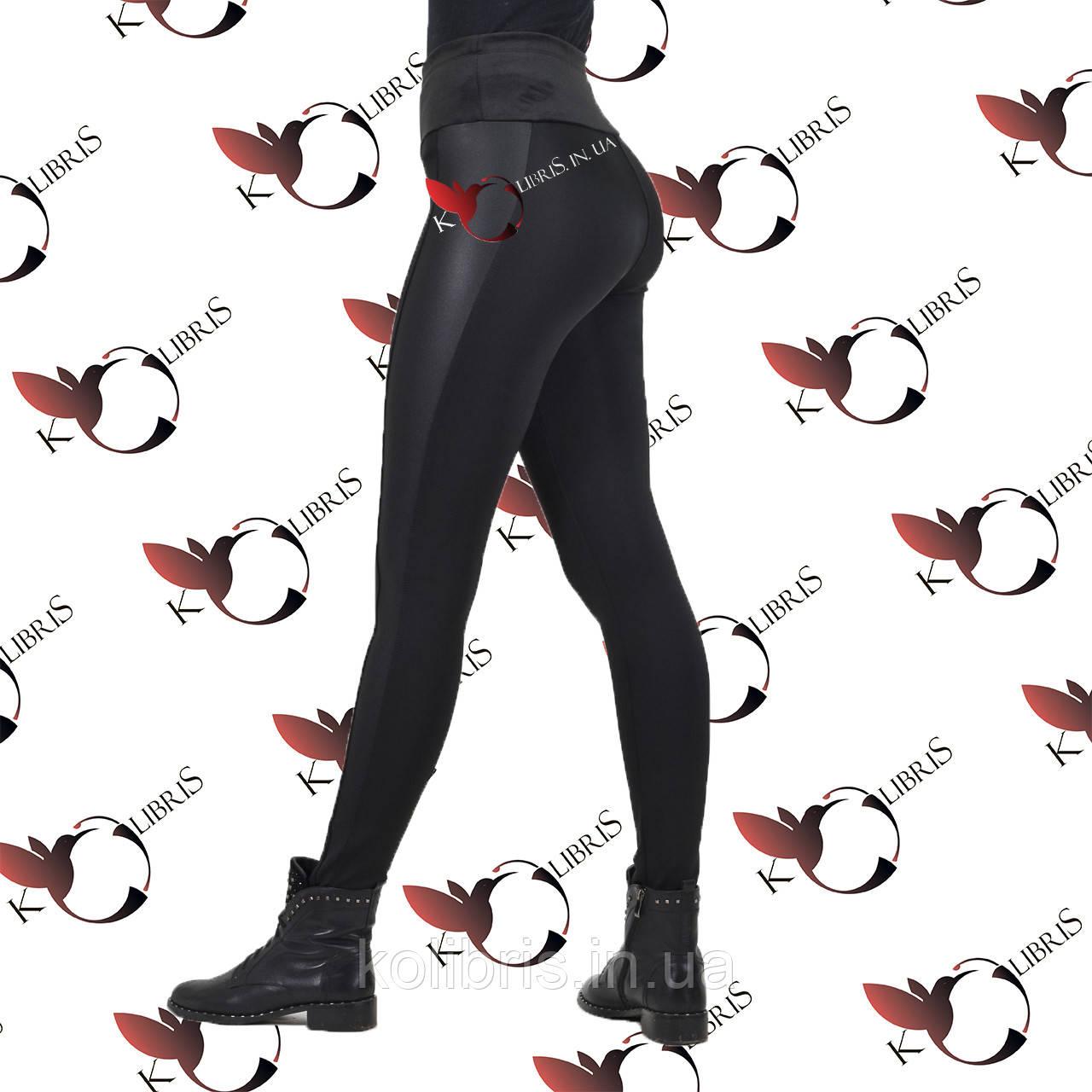 Лосины женские черный микродайвинг на меху/ПЛЮШЕ широкий пояс лампас диско-стрейч