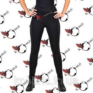 Лосины женские черный микродайвинг на меху/ПЛЮШЕ широкий пояс лампас диско-стрейч 48