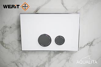 Панель змиву біле матове скло з латунними кнопками серії Avangarde до інсталяцій Werit