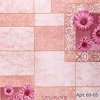 Обои бумажные влагостойкие розовые под плитку с цветами для кухни, ванной, коридора, 53 см х 10 м