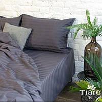 Комплект постельного белья Страйп Сатин с простыней на резинке Темно - серый