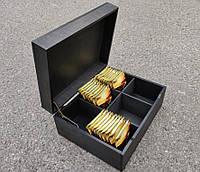 Организатор для чая, 6 ячеек (деревянная шкатулка для пакетиков чая) СЕРО ЧЕРНЫЙ цвет