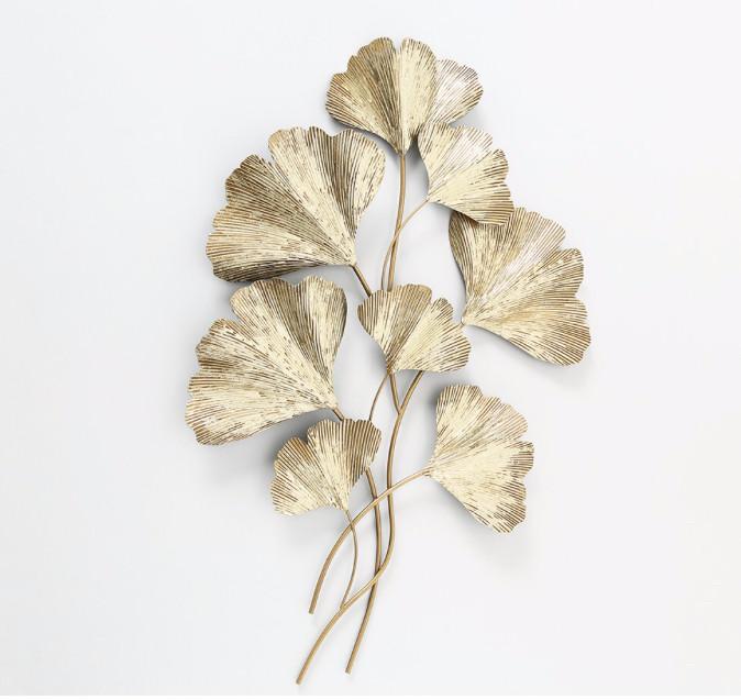 Настенный декор Гинкго металл золото 61*95*5см