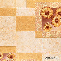 Обои бумажные влагостойкие персиковые под плитку с цветами для кухни, ванной, коридора, 53 см х 10 м