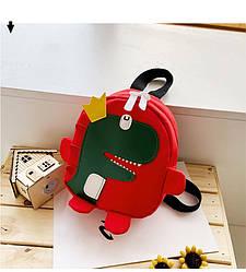 Детский рюкзак красный с динозавром