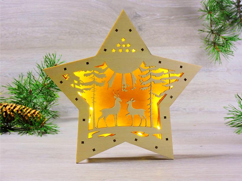 Ночник деревянный Led светильник Звезда «Олени в лесу» (2140)