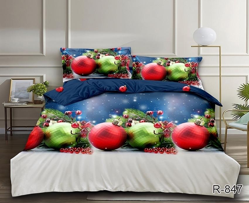 Новогоднее постельное белье Елочные шары комплект семейный