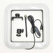 Квадратная светодиодная LED-Лампа D=35 см для Селфи Selfie Ring Fill Light с Держателем 3 Режима свечения, фото 3