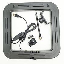 Квадратная светодиодная LED-Лампа D=35 см для Селфи Selfie Ring Fill Light с Держателем 3 Режима свечения, фото 2