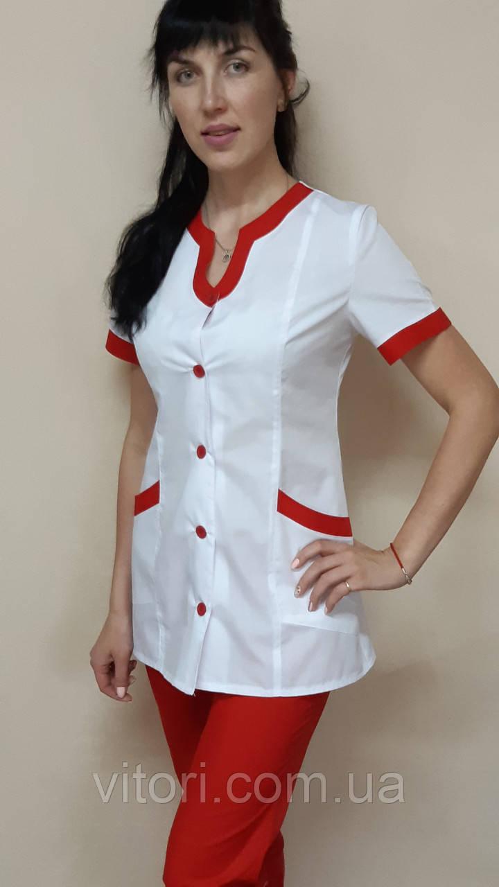 Женский медицинский костюм Радуга хлопок короткий рукав