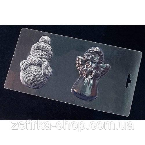 Пластиковая форма для шоколада Снеговик и ангелочек