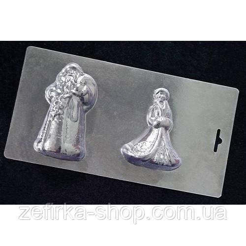 Пластиковая форма для шоколада Дед Мороз и снегурка