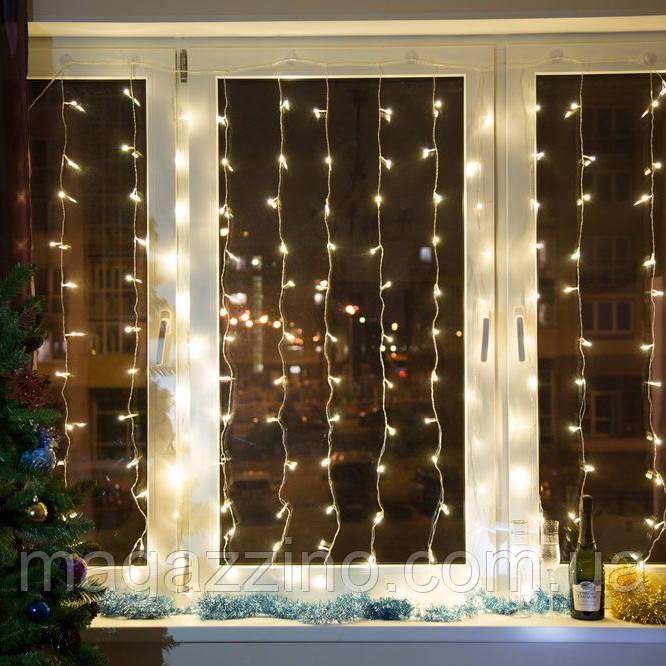 Гирлянда Штора светодиодная, 144 LED, Золотая (Желтая), прозрачный провод, 1,5х1,2м.
