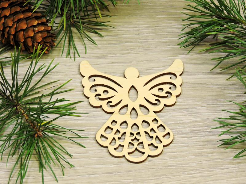 Новогодние деревянные игрушки на елку Ангелочек (форма №6) (2150)