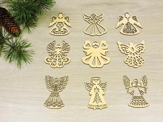 Новогодние украшения Ангелочки из фанеры