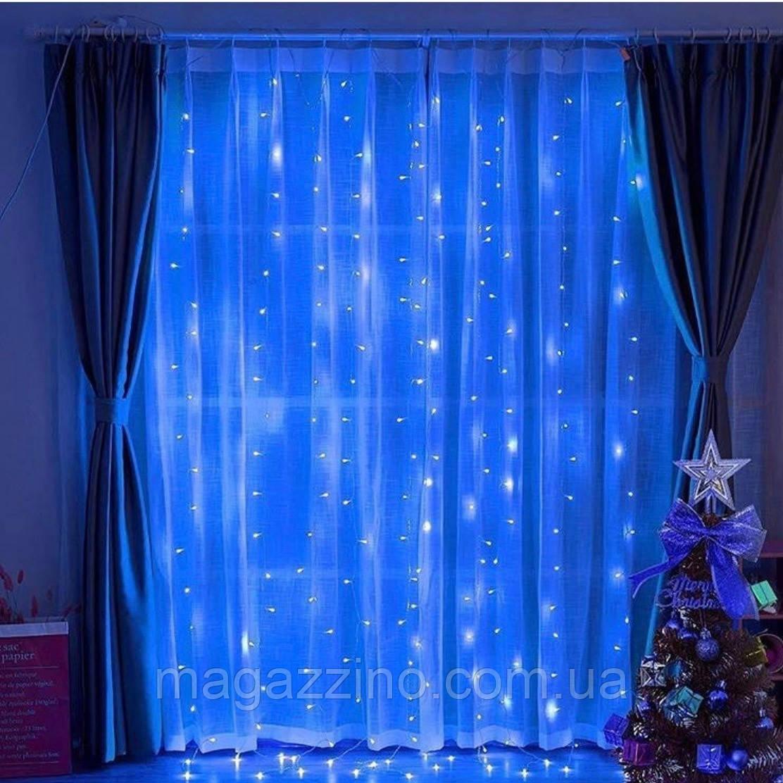 Гирлянда Штора светодиодная, 500 LED, Голубая (Синяя), прозрачный провод, 3х2м.