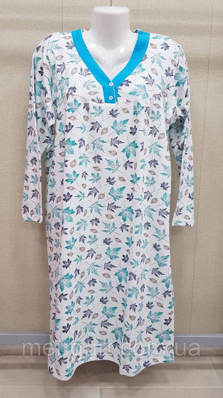 Ночные рубашки женские с длинным  рукавом 100% хлопок Fazo-r
