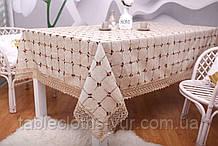 Скатертина Льон Святкова 150-220 Коричнева з вішитими візерунками коричнево-білого кольору