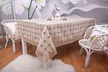 Скатертина Льон Святкова 150-220 Коричнева з вішитими візерунками коричнево-білого кольору, фото 2