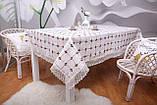Скатертина Льон Святкова 150-220 Біла з коричнево-білим вишитими візерунками, фото 2