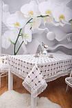 Скатерть Праздничная Лен 150-220 Белая с коричнево-белыми вышитыми цветками, фото 3
