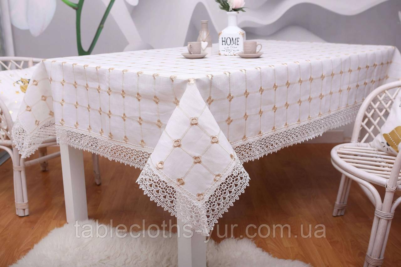 Скатерть Праздничная Лен 150-220 Белая с коричневыми вышитыми цветками