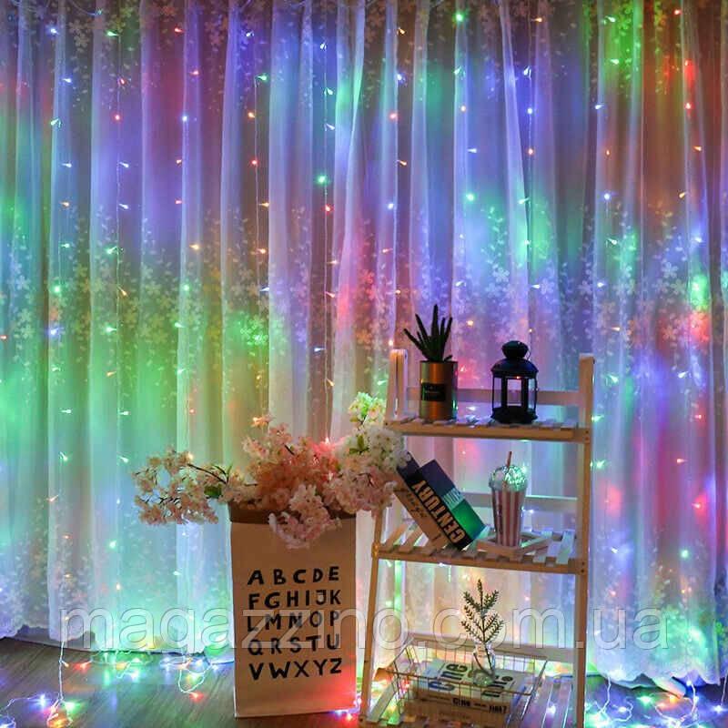 Гирлянда Штора на леске Лучи росы, 200 LED, Мультицветная, прозрачный провод (леска), 3х1м.