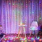Гирлянда Штора на леске Лучи росы, 200 LED, Мультицветная, прозрачный провод (леска), 3х1м., фото 2